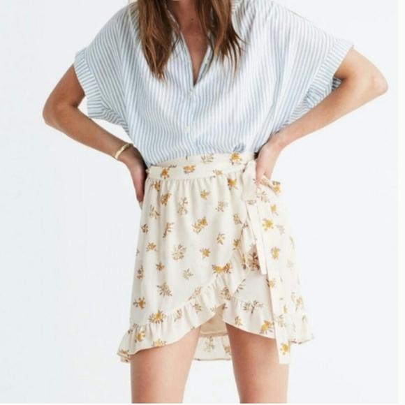 Madewell Ivory Floral Wrap Skirt Sz 2
